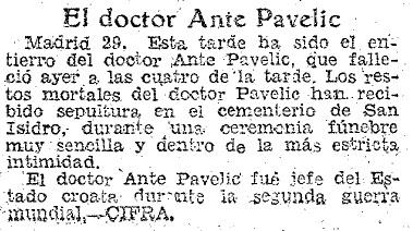 Tumba Ante Pavelic - Noticia aparecida en el diario ABC, anunciando la muerte de Pavelic