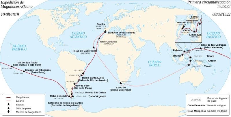 El Galeón de Manila - Mapa de la Expedición Magallanes - Elcano, mostrando las escalas (4).