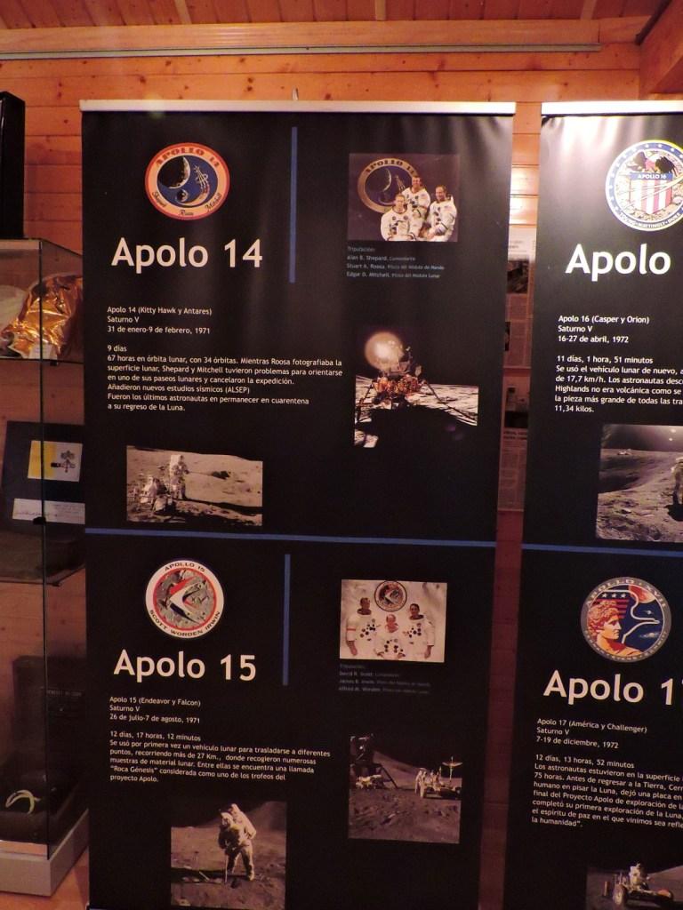 Museo Lunar - Cartel explicativo de las misiones Apolo 14 y Apolo 15.