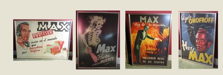 El Carromato de Max - Carteles de los diversos espectáculos del Profesor Max. Lo de hipnotizar por teléfono debía tener su gracia (4).