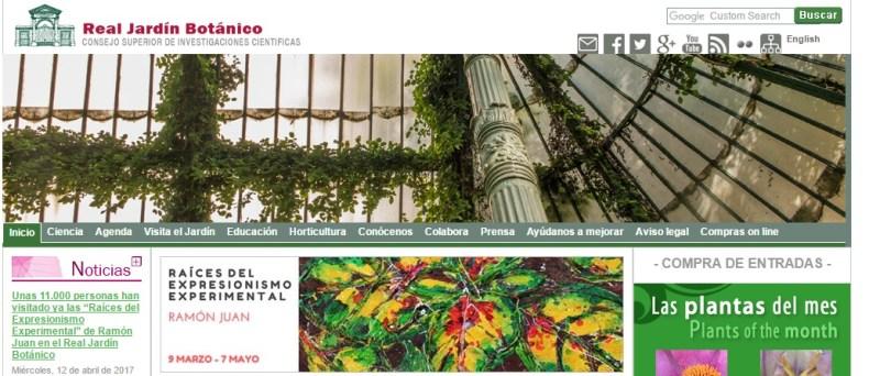 Jardín Botánico Madrid - Página web del Real Jardín Botánico, en la que podemos ver el gran volumen de actividades que realiza.