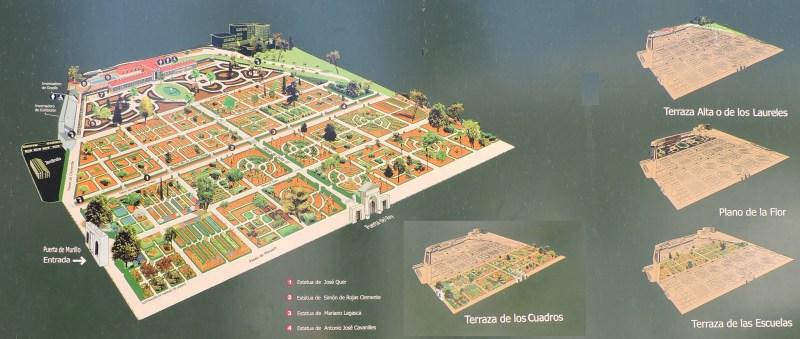 Jardín Botánico Madrid - Plano de las distintas terrazas del Real Jardín Botánico.