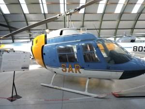 """Museo del Aire - Augusta-Bell 206A """"Jet Ranger"""". El ejército español dispuso de 5 unidades, para misiones SAR."""