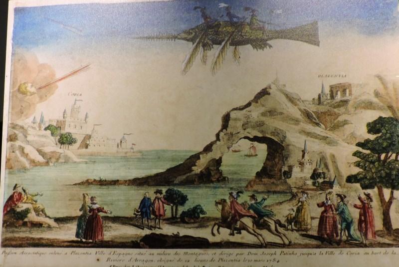 """El vuelo de Diego Marín - Un contraejemplo de lo anterior sería este Pez Volador """"fake"""" con el que,, supuestamente, José Patiño viajó en 1784 entre las localidades de Plasencia y Coria del Río."""