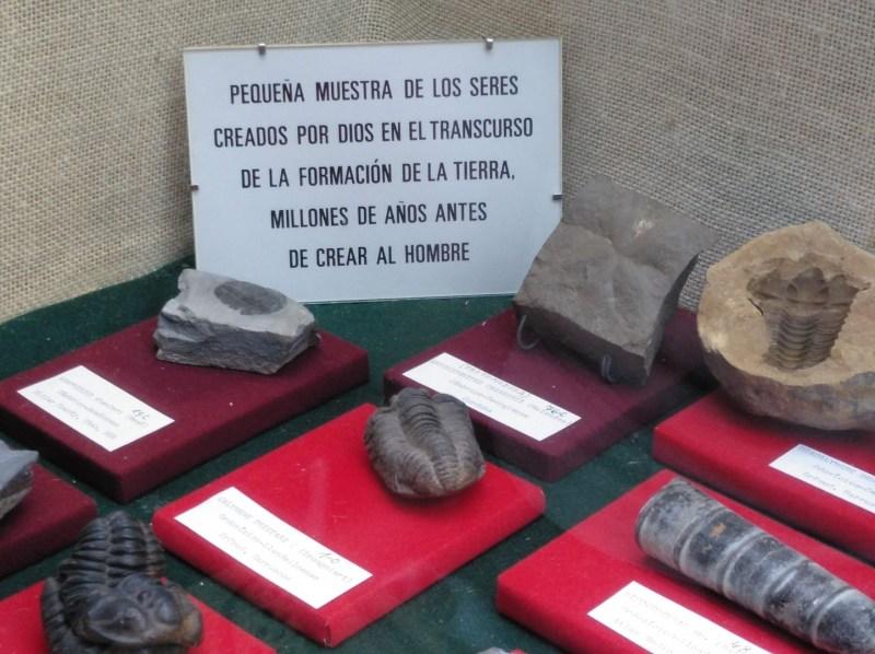 Museo Religioso-Paleontológico - Curioso cartel que combina ciencia y fe en una sola frase.