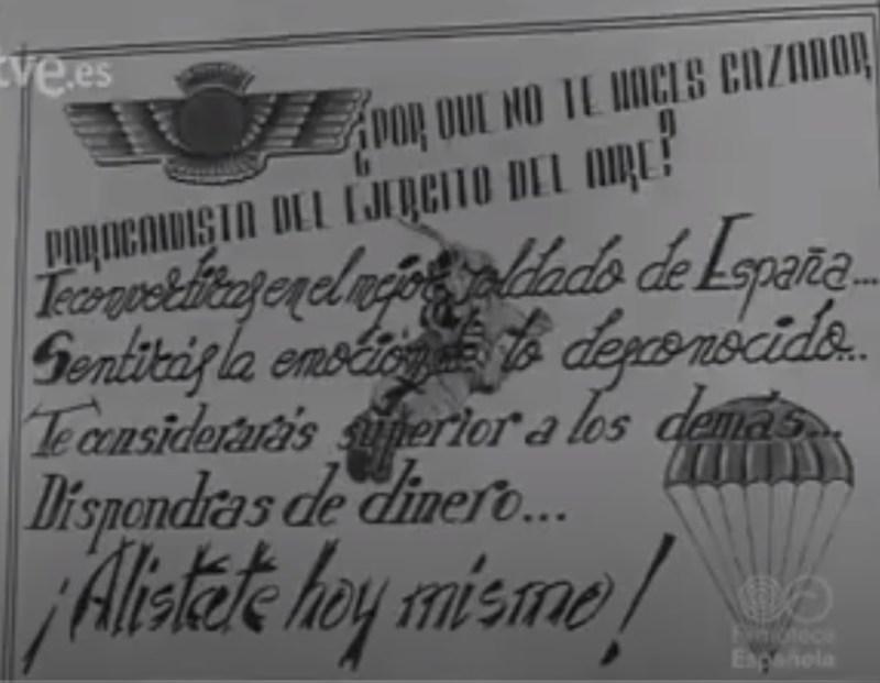 """Museo de la Bripac - Propaganda de alistamiento a los """"paracas""""."""