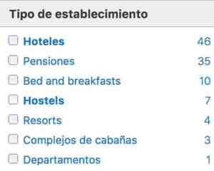 Tipos de hospedaje disponibles en booking