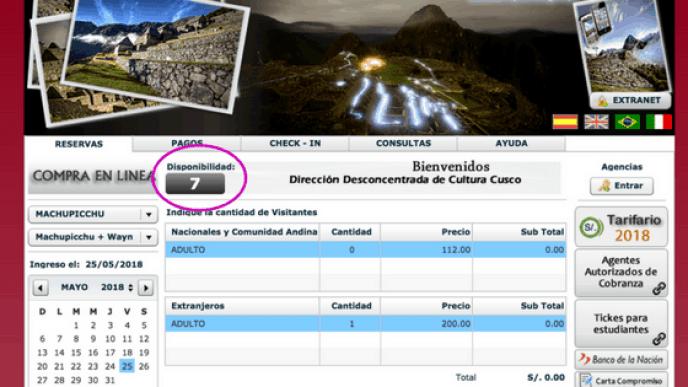 Disponibilidad de Lugares para Machu Picchu + Huayna Picchu