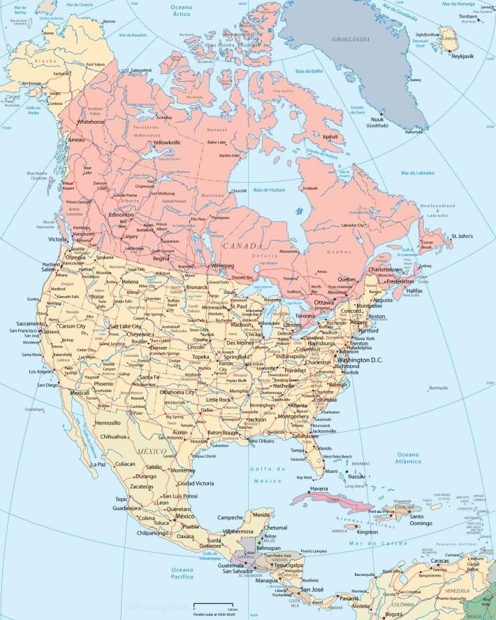 mapa américa do norte e mar do caribe