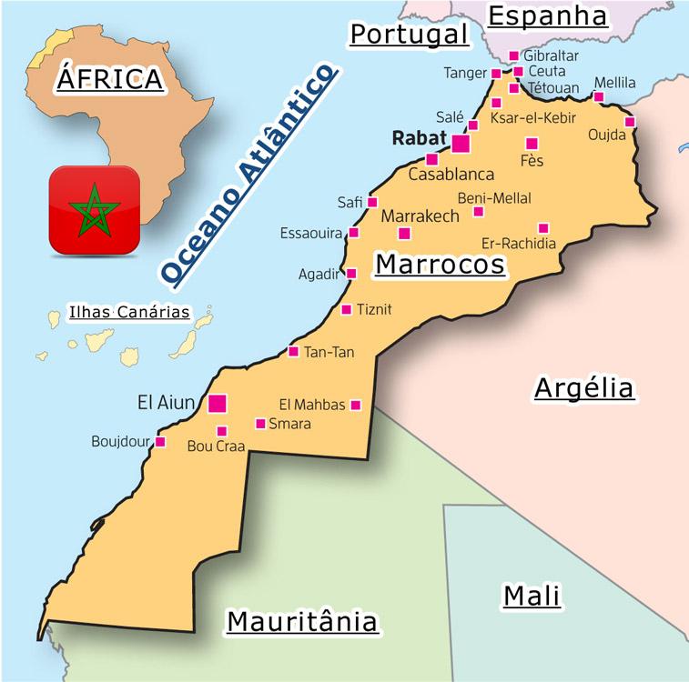 mapa de marrocos Mapa e Geografia | Marrocos   Guia de Viagem mapa de marrocos