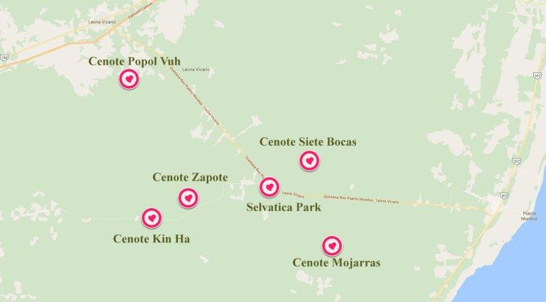 Mapa Ruta de los Cenotes Puerto Morelos