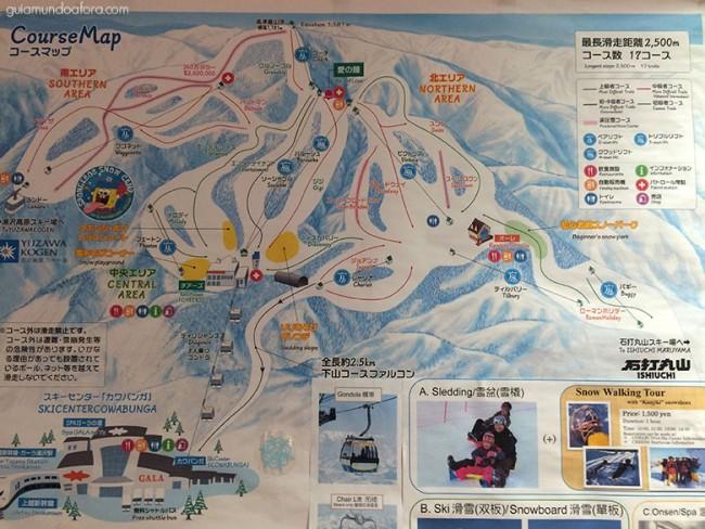 Mapa de pistas de ski em Tóquio