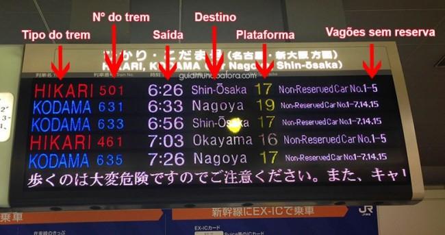 Telão de trens no Japão