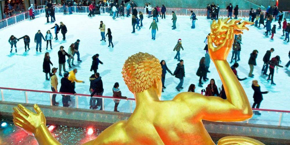 pista de patinacao nova york no natal Rockefeller