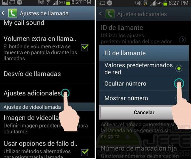 Ocultar número teléfono Android