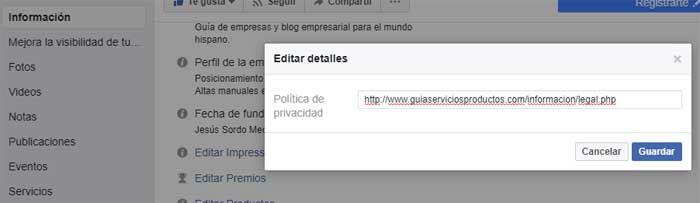 Política de privacidad Facebook