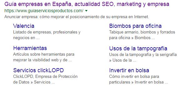 Estructura web Google