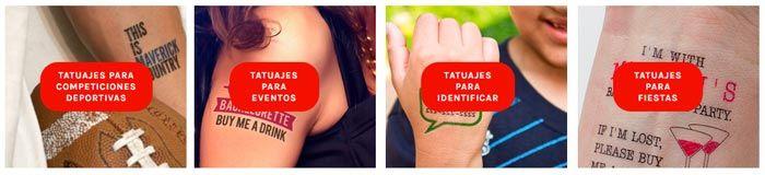 Tatuajes temporales para eventos