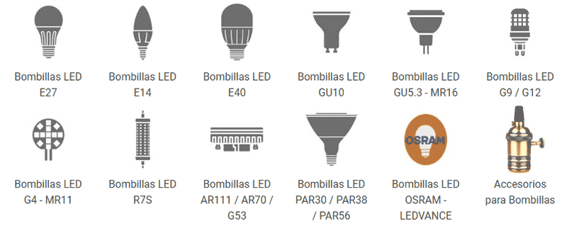 Tipos de bombillas LED