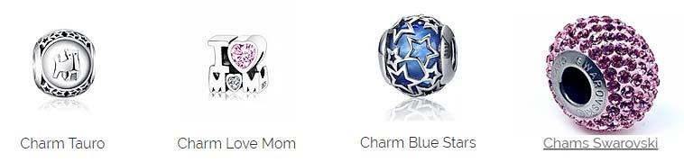 Charms de plata con cristal