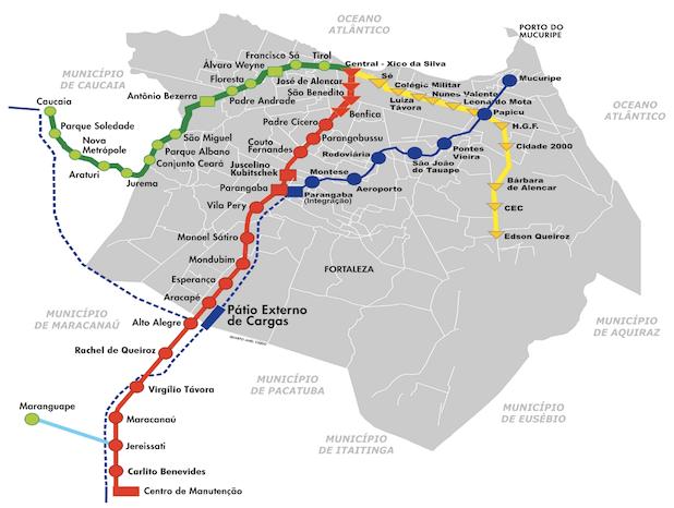 Mapa do metrô de Fortaleza