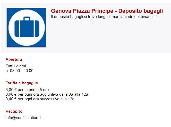 Genova Piazza Principe - Deposito bagagli