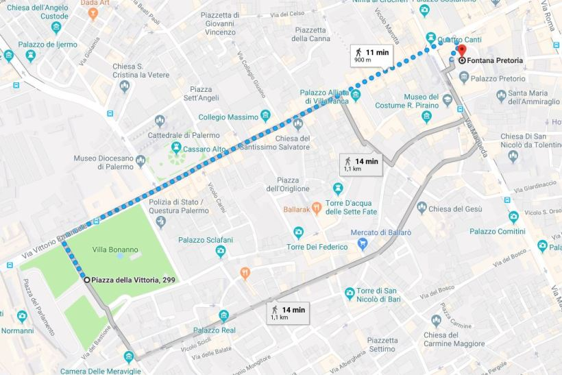 Percorso pedonale Palazzo dei Normanni - Fontana Pretoria Palermo