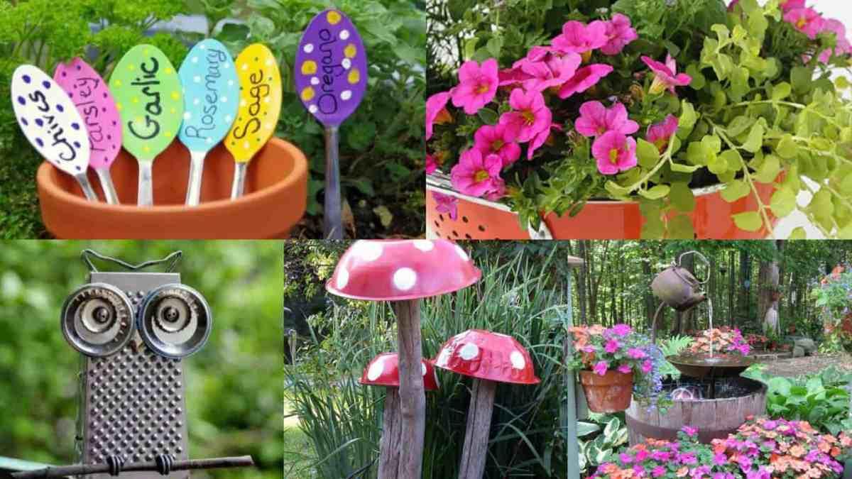 riciclare oggetti da cucina per decorare il giardino 14