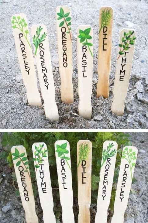 Bastoncini di legno trasformati in etichette per l'orto