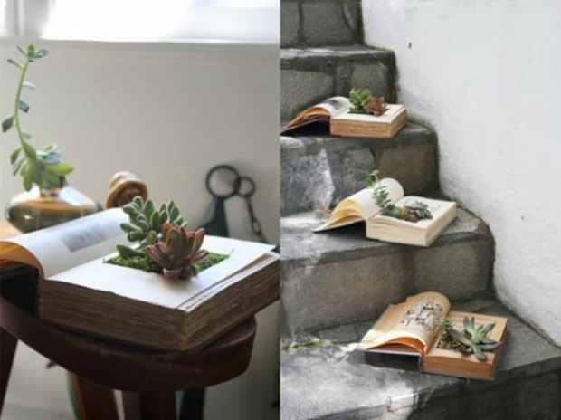 idee creative con i libri: scavate le pagine, riempitele di terra e decorate la vostra casa unendo cultura a pollice verde