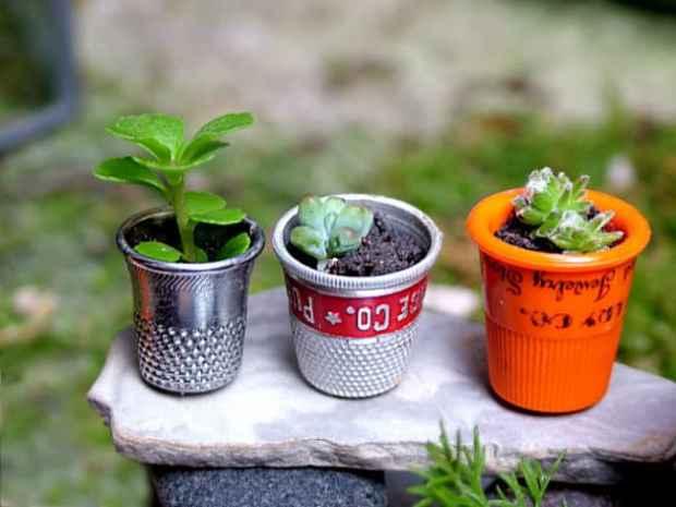 ditale da cucito trasformato in mini vaso per le piantine