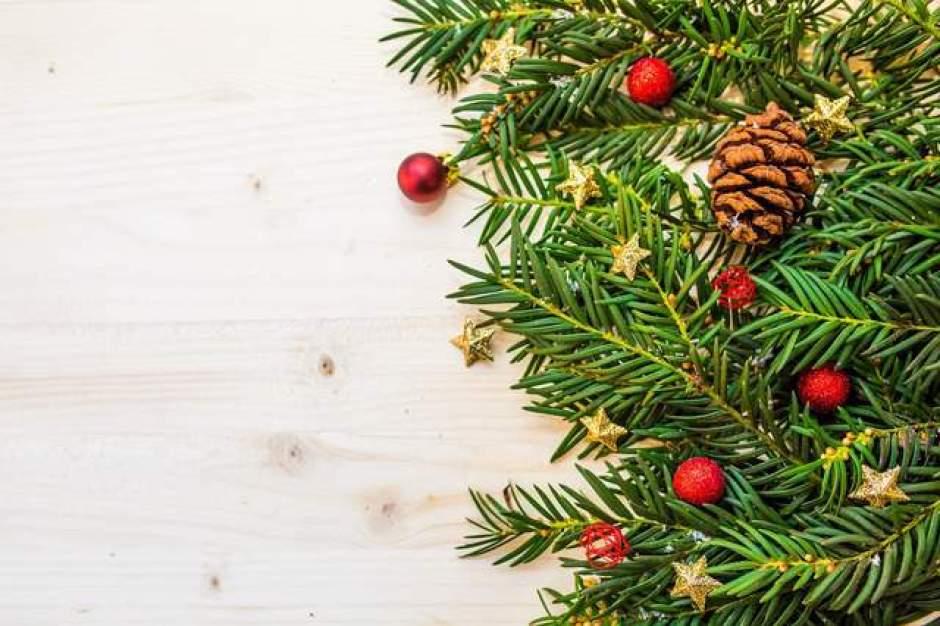 Decorazione natalizia con pigne, rami di pino e palline rosse
