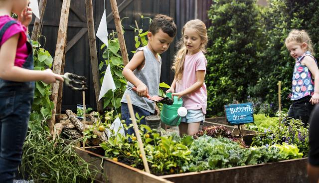 bambini che giocano in giardino e in orto annaffiando le piante