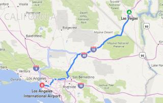 Kørsel Las Vegas Los Angeles rute