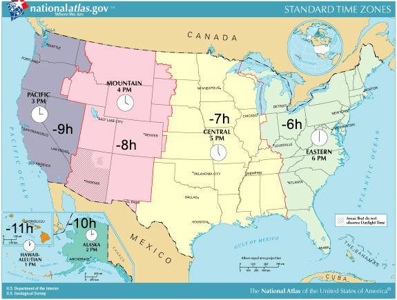 Tidszoner I Usa Stater Og Tidszoner Sommertid I Usa Ift Europa