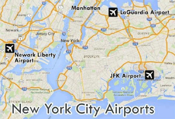 Kort New York lufthavne