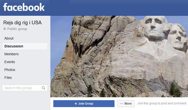 Rejs dig rig i USA - Facebook gruppe