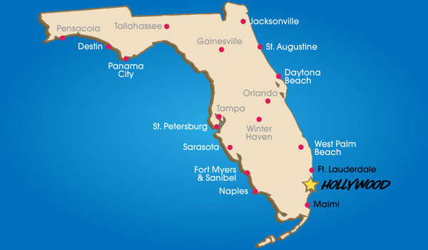 Hollywood Map Florida
