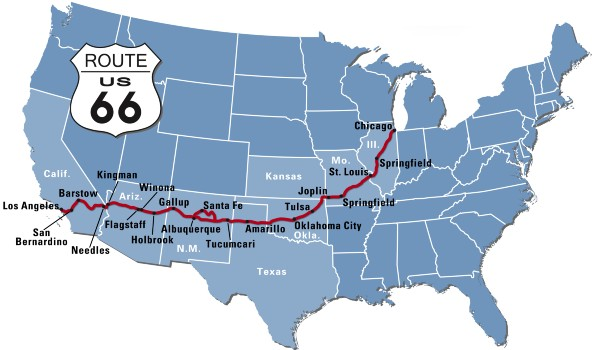 Route 66 kort stater