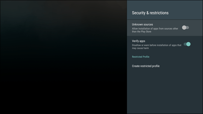 Enable Unknown Sources on Android TV