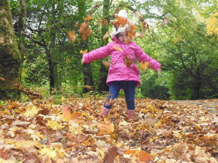 Sarah with autumn leaves P1010123