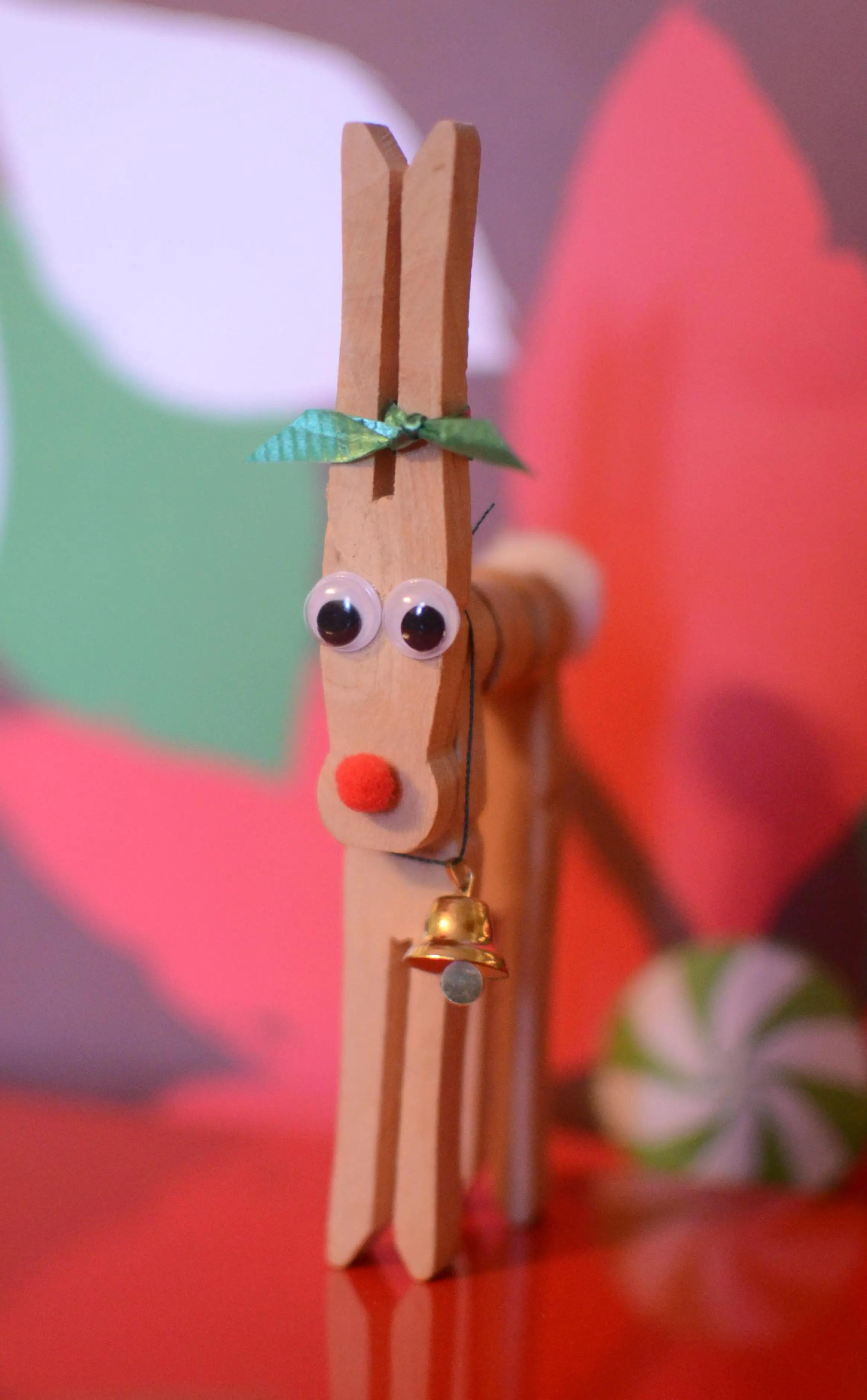 Wooden Clothespin Reindeer