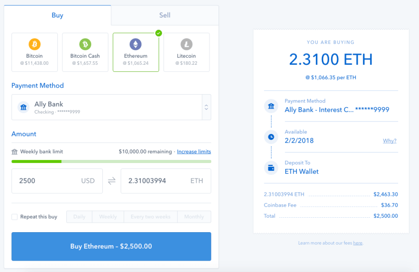 convert fiat to ethereum eth coinbase