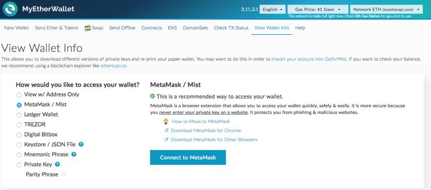 ethereum metamask myetherwallet