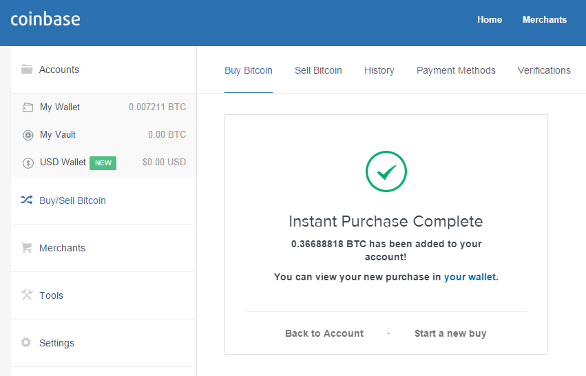 coinbase bitcoin successful