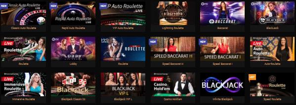Live Dealer Games at King Billy Casino