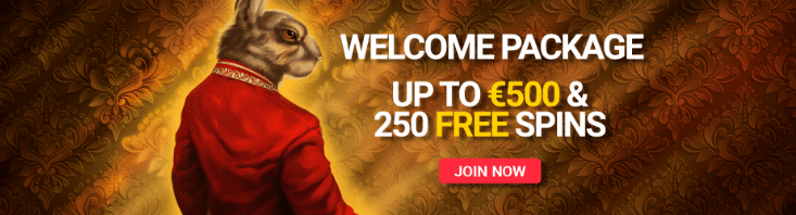 Get a $500 Welcome Bonus + 250 Free Spins at Royal Rabbit Casino