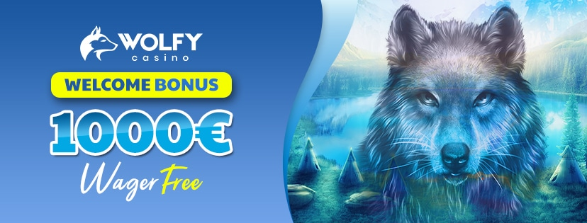 Get a €1000 Welcome Bonus Package at Wolfy Casino