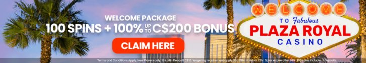 Get a 100% Welcome Bonus up to £/€/$200 + 100 Spins at Plaza Royal Casino
