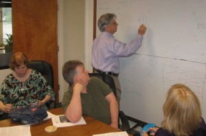 Hal Puthoff in 2013 lecturing to students of Paul H. Smith about remote viewing